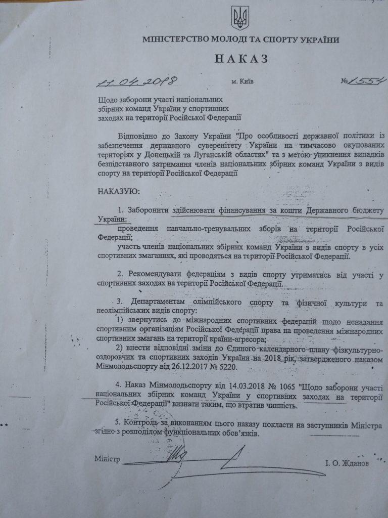 Наказ МІНМОЛОДЬСПОРТ1554